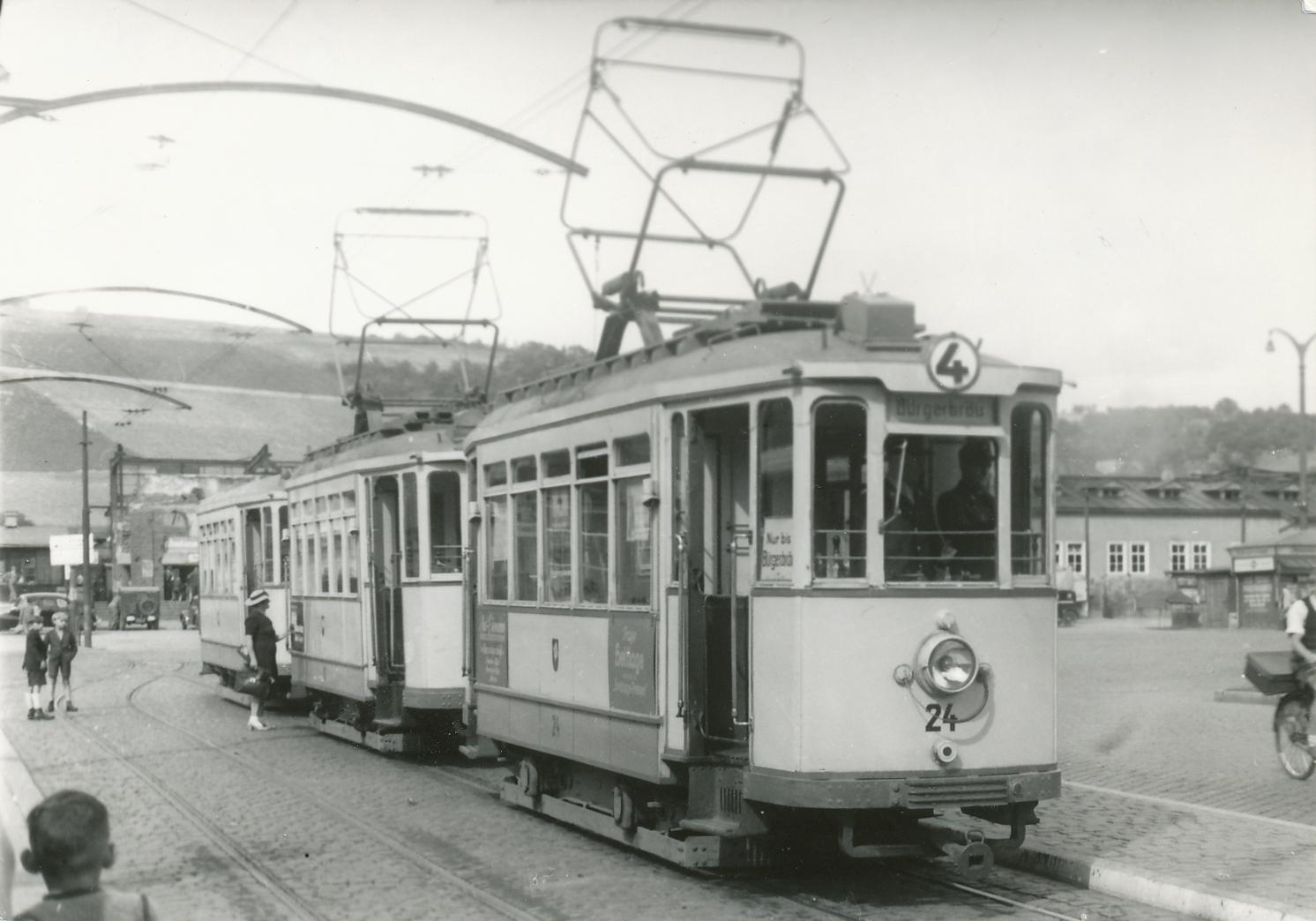 1950 Straba mit Beiwagen Würzburg