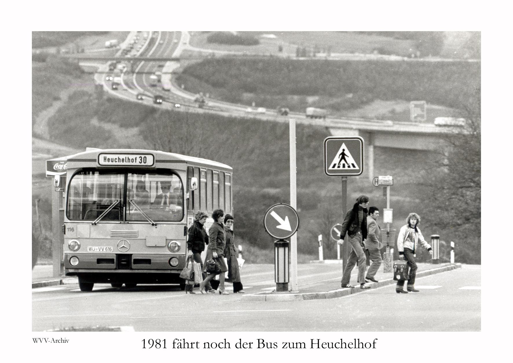 1981 fährt noch der Bus zum Heuchelhof