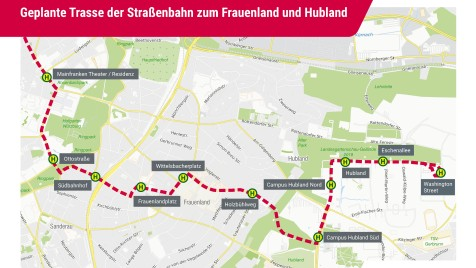 Geplante Trasse der Straßenbahn zum Frauenland und Hubland