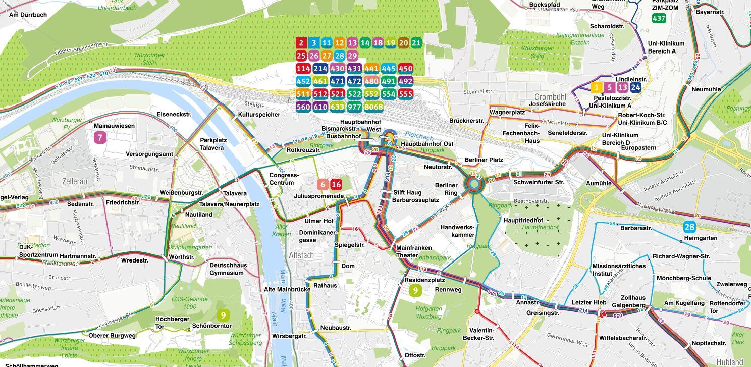 Interaktiver Liniennetzplan